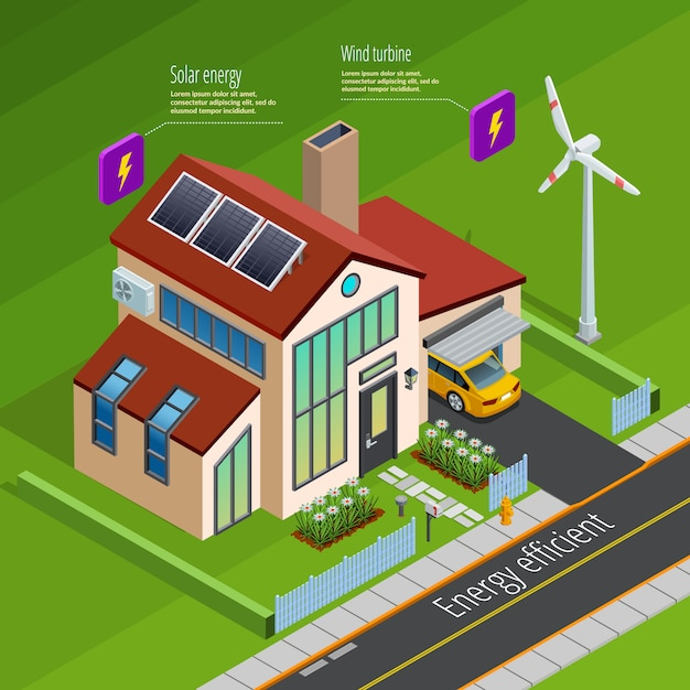 Smart home energy generation isometric poster Free Vector