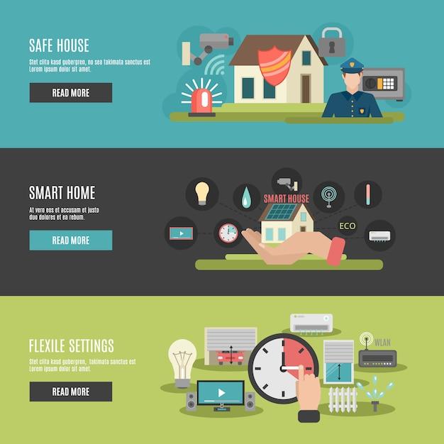 Smart home flat interactive banners Premium Vector