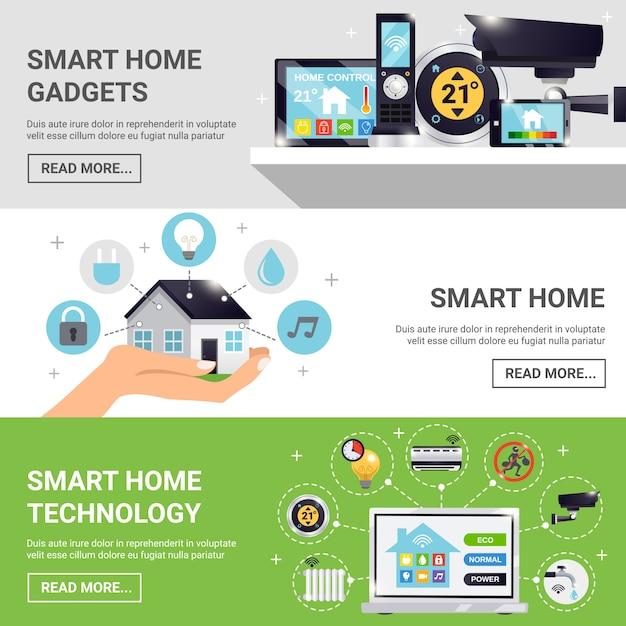 Smart home horizontal banner set Free Vector
