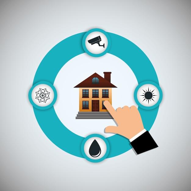 Smart home house icon set Premium Vector