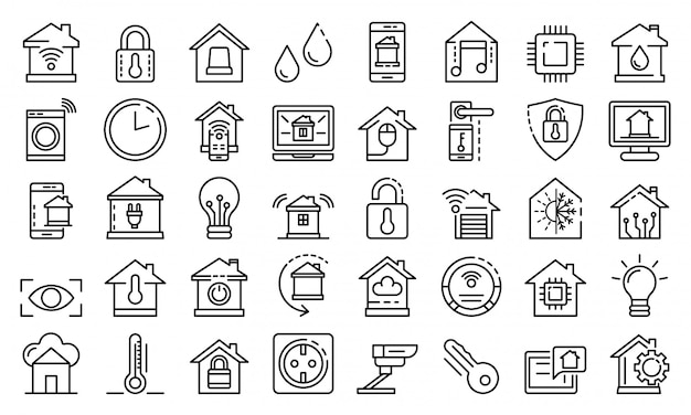 Smart home icons set, outline style Premium Vector
