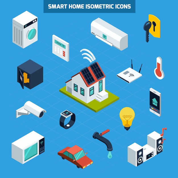 Smart home icons set Free Vector