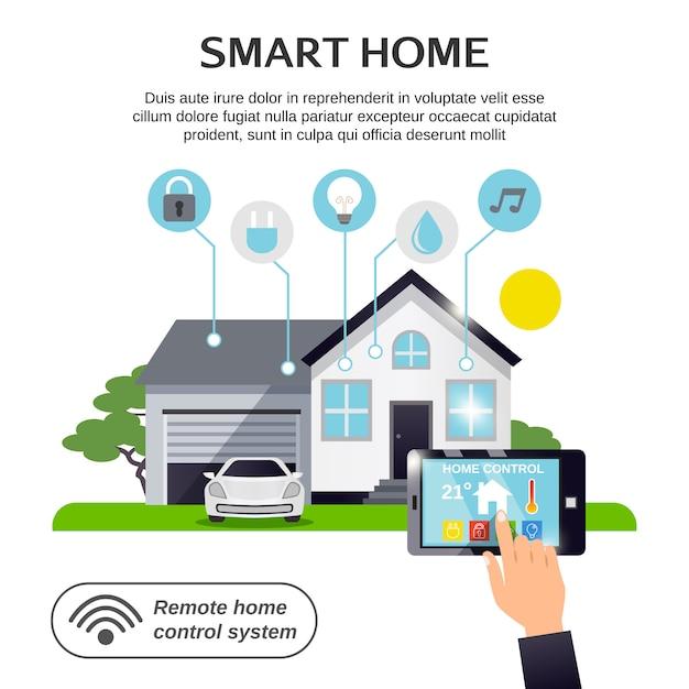 Smart home illustration Free Vector