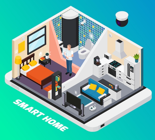 Smart home interior isometric design with light system stove tv controlled with wearable mobile devices  illustration Free Vector