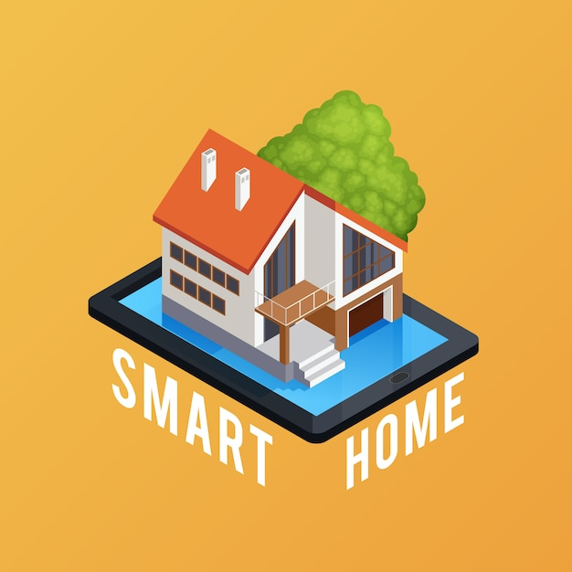 Smart home isometric composition poster Free Vector