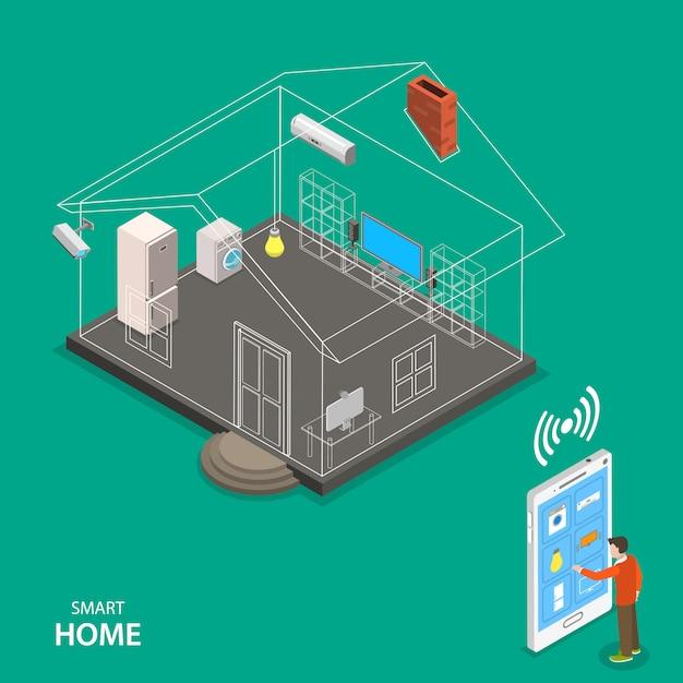 Smart home isometric flat vector concept. Premium Vector