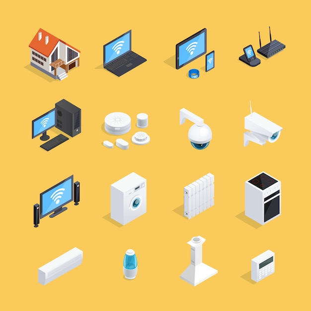 Smart home isometric icons set Free Vector