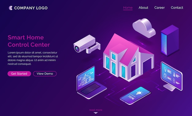 Smart home isometric, internet of things concept Free Vector