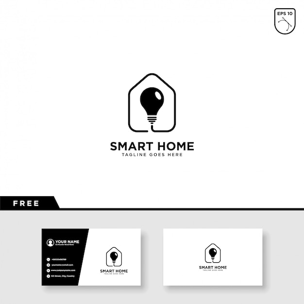 Smart home logo vector and business card template Premium Vector