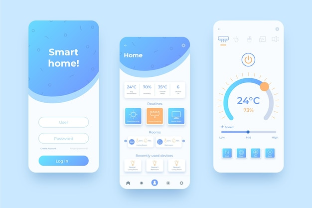 Smart home management mobile homepages Free Vector