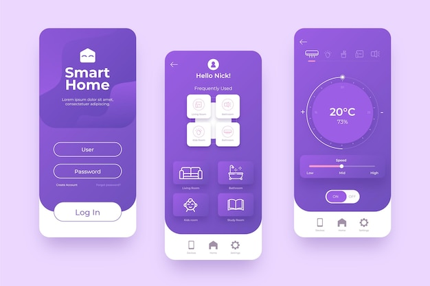 Smart home management in violet shades Free Vector