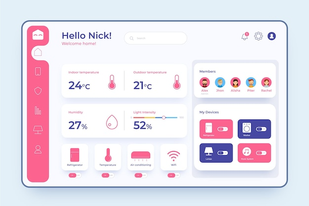 Smarthome management with various options Free Vector