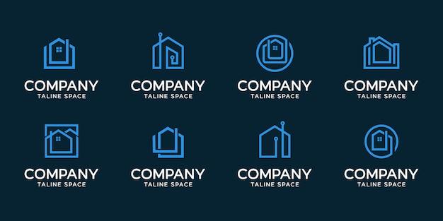 Умный дом современный дизайн логотипа Premium векторы