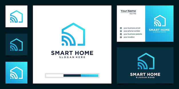 スマートホーム技術のロゴと名刺のデザイン Premiumベクター