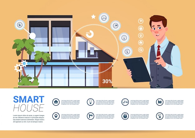 Smart home technology banner with man holding digital tablet device with control system Premium Vector