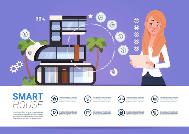 Smart home technology banner with woman holding digital tablet device with control system Premium Vector