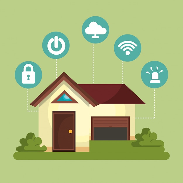 Smart home technology set icon Free Vector