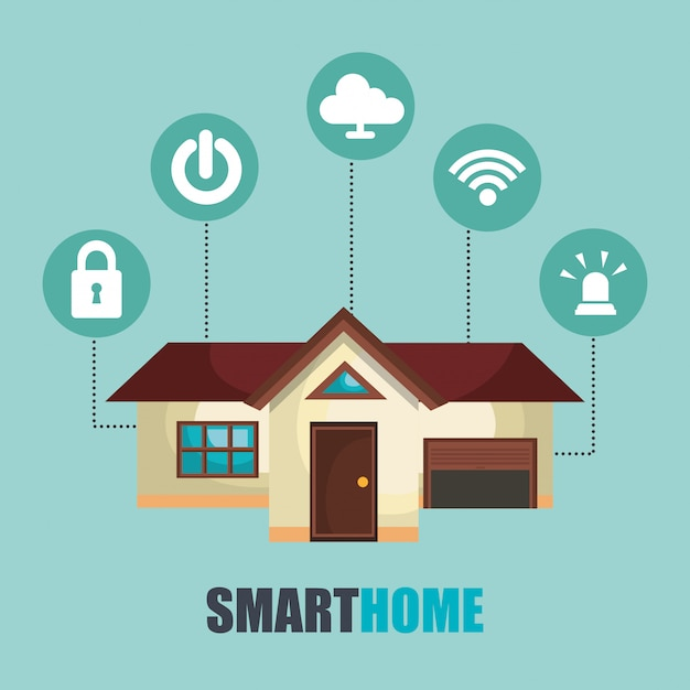 Smart home technology set icons Free Vector