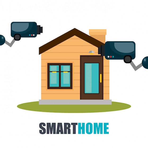 Smart home technology with cctv camera Free Vector