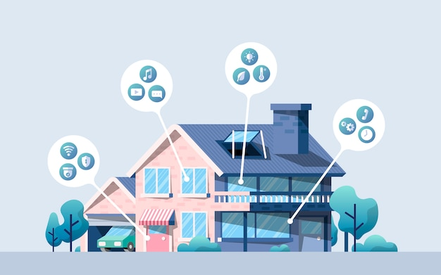 Smart home vector pack with icons Free Vector