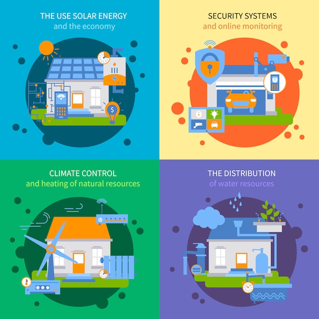 Smart house colored icon set Free Vector