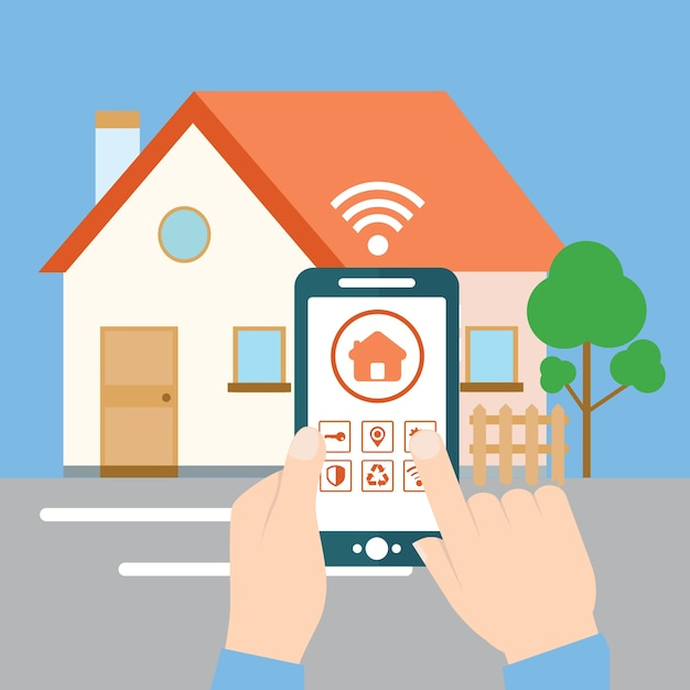 Smart House smart house concept holding mobile with app on the screen for