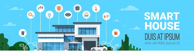 Smart house control system interface infographics modern home technology icons horizontal banner Premium Vector