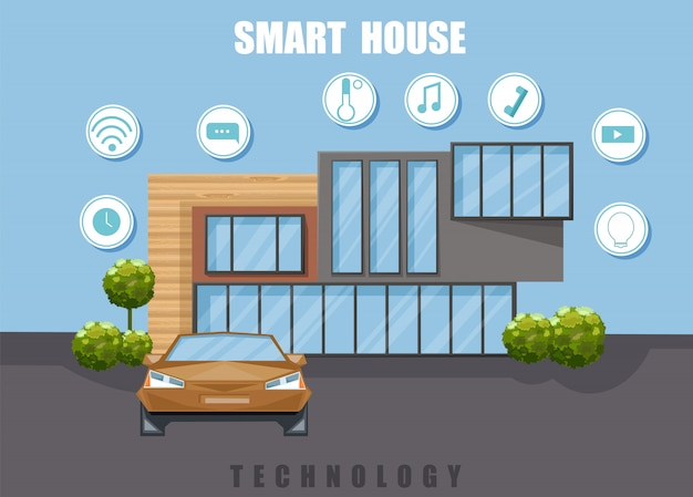 Smart house flat style Premium Vector