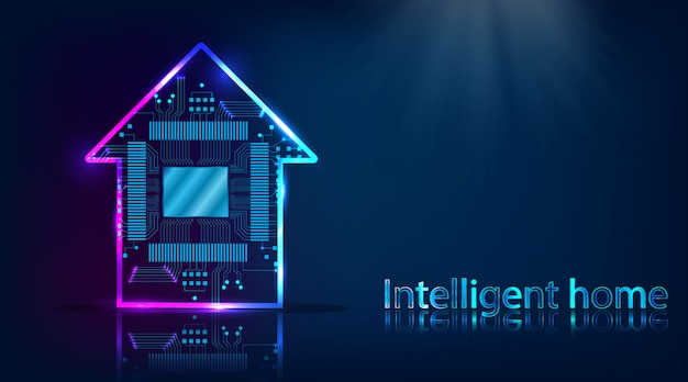 Smart house. home technology system with wireless centralized control background Premium Vector
