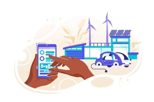 Smart  house illustration Premium Vector