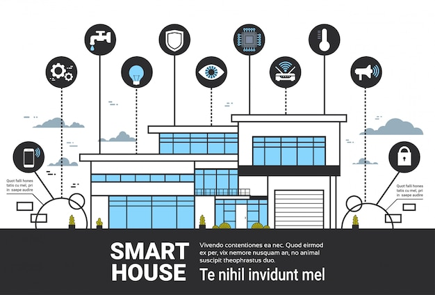 Smart house infographics icons set modern home control system interface technology banner Premium Vector