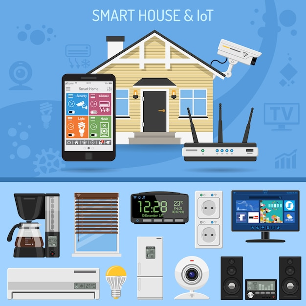 Smart house and internet of things Premium Vector