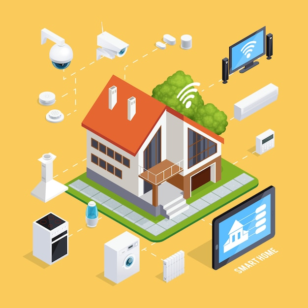 Smart house isometric composition poster Free Vector