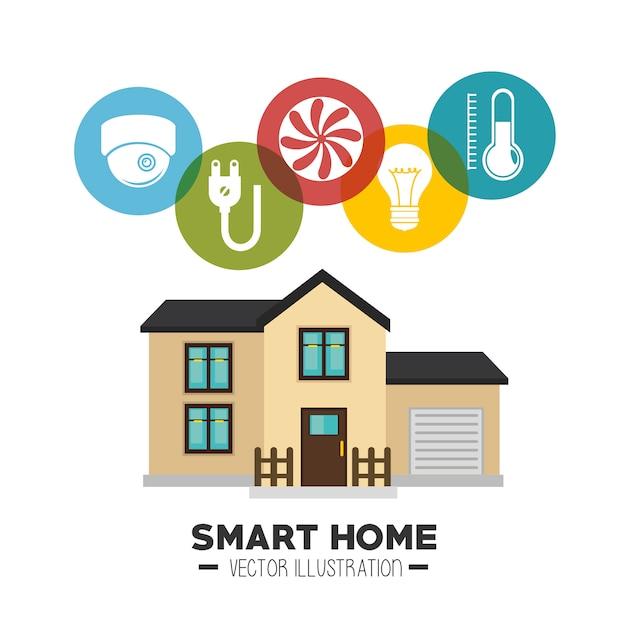 Casa intelligente e le sue applicazioni icona isolata Vettore gratuito
