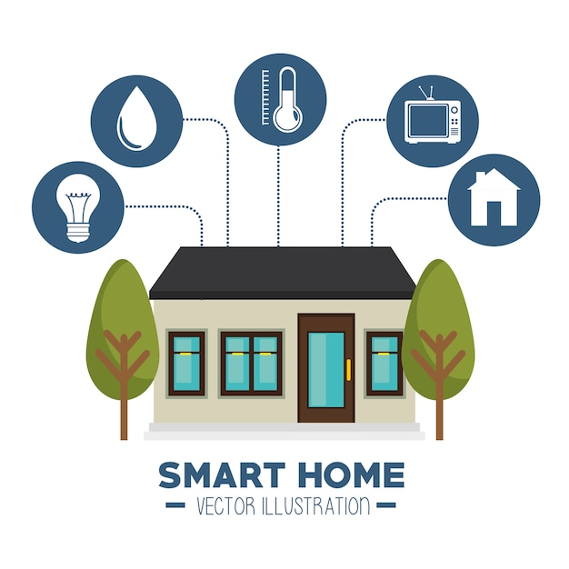 Smart house and its applications isolated icon Free Vector