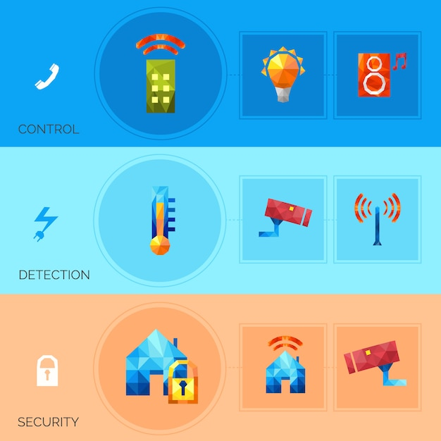 Smart house polygonal banners Free Vector
