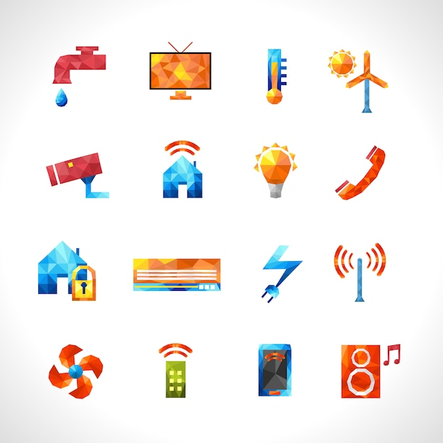 Smart house polygonal icons Free Vector