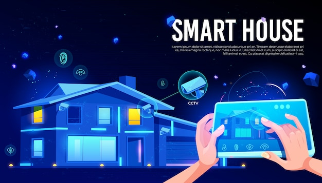 Smart house remote control cartoon Free Vector