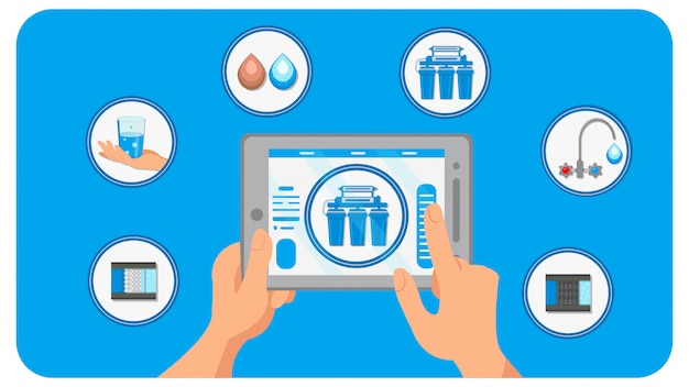 Smart house water filtration vector illustration Premium Vector