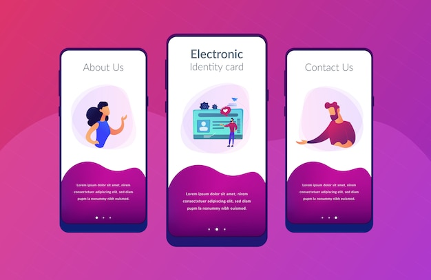 Smart id card app interface template. Premium Vector