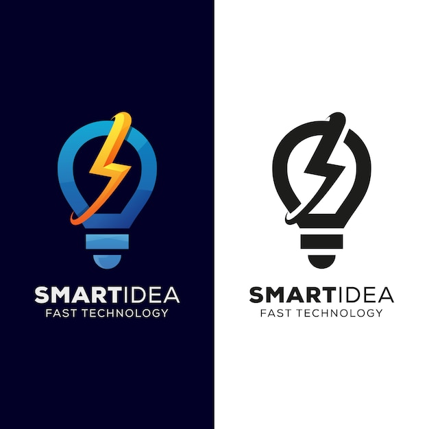 Smart idea and fast technology logo, fast idea, thunder bulb logo design with black version Premium Vector