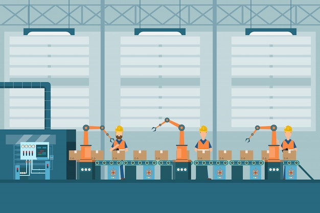 Smart industrial factory in a flat style with workers, robots and assembly line packing Premium Vector