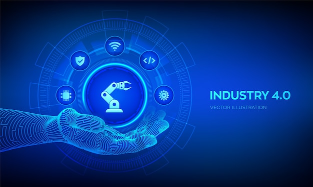 Smart industry 4.0 symbol in robotic hand. factory automation. autonomous industrial technology concept. Premium Vector
