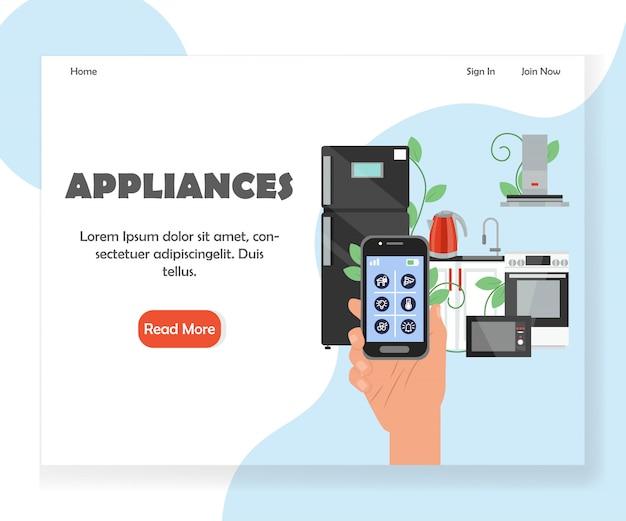 Smart kitchen appliances website landing page template Premium Vector