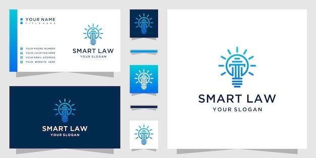 Умный логотип закона с комбинацией стиля линии искусства логотипа столба и лампы Premium векторы