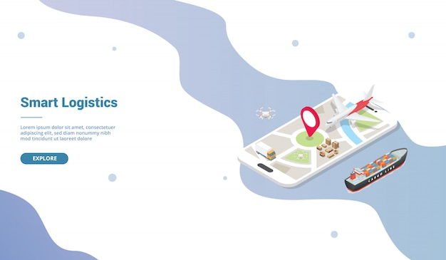 Smart logistics delivery system for website template or landing homepage with isometric style Premium Vector