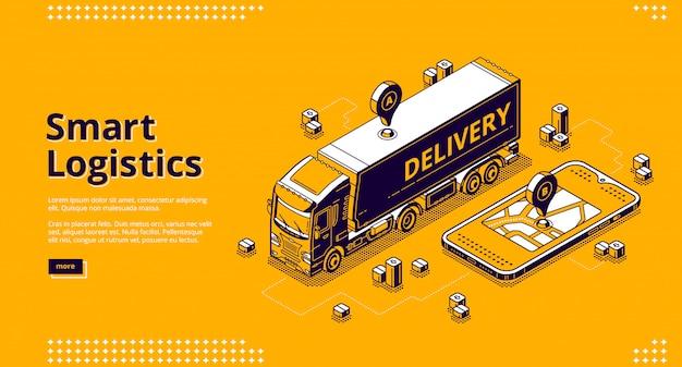 Smart logistics isometric landing, geo location Free Vector