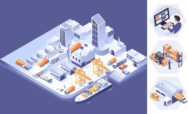 Smart logistics and transportation concept Premium Vector