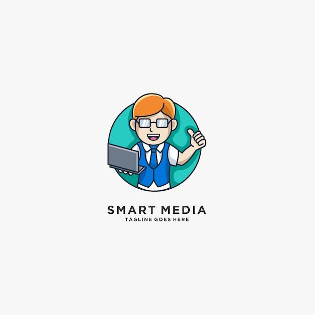 Smart media boy with laptop mascot illustration  logo. Premium Vector