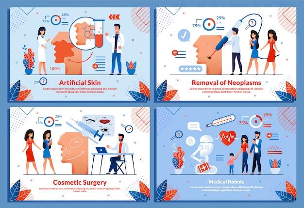 Smart medicine artificial cosmetology illustration set Premium Vector